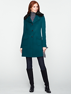 Fur-Collar Fully-Lined Three-Quarter-Length Coat