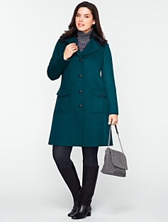 Fur-Collar Thinsulate (TM) Lined Three-Quarter-Length Coat