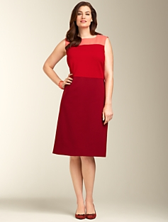Ponte Knit Colorblocked A-Line Dress