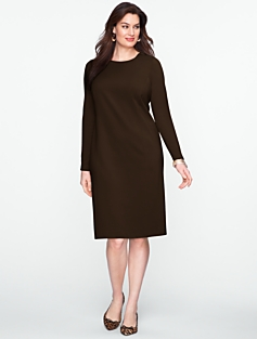 Faux-Leather Trim Zip-Shoulder Ponte Dress