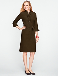 Ruffled Corduroy Shirtdress