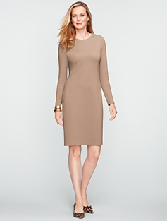 Zip-Shoulder Ponte Dress