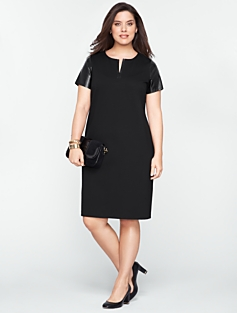 Faux-Leather Short-Sleeve Dress