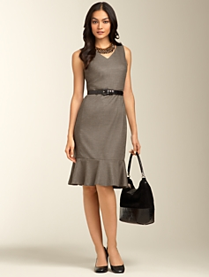 Staggered Twill Flounced-Hem Dress