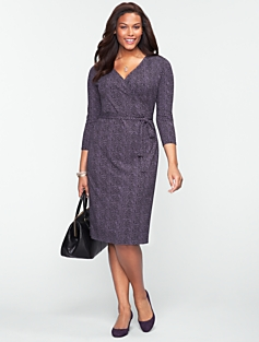 Chevron Print Platinum Jersey Wrap Dress