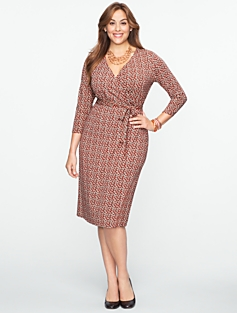 Houndstooth Platinum-Jersey Wrap Dress