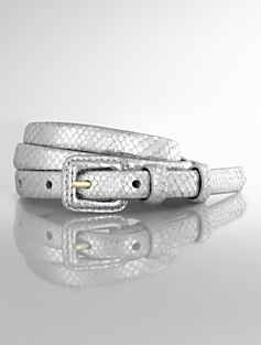 Metallic Leather Covered-Buckle Belt