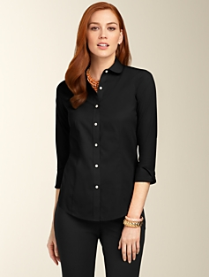 Wrinkle-Resistant Peter Pan Collar Shirt
