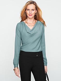 Crepe De Chine Drape-Neck Top