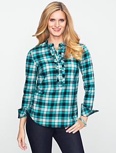 Ruffled Plaid Shirt