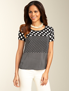 Silk Mixed-Dot Top