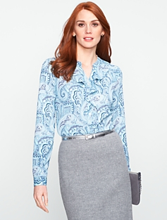 Ruffled Filigree Paisley Top