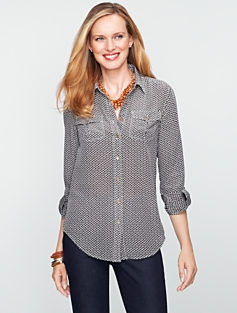 Silk Geo-Dot Utility Shirt