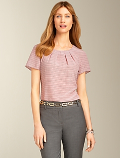 Silk Geo Dot Pleated Top