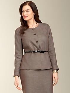 Staggered Twill Peplum Jacket