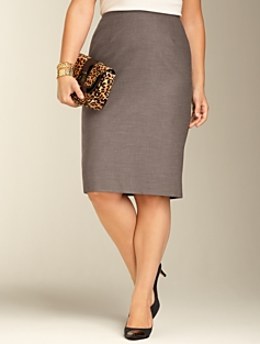 Staggered Twill Pencil Skirt