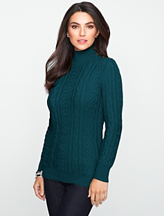 Chunky Cable Mock-Turtleneck Sweater