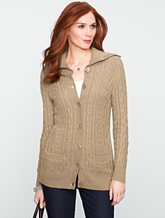 Chunky Cable Turtleneck Cardigan