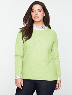 Mixed-Texture Shirttail-Hem Sweater
