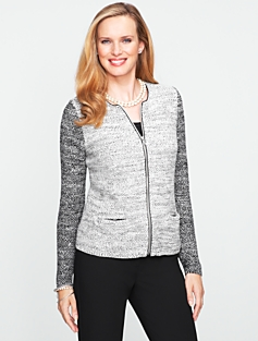 Colorblocked Zip Cardigan