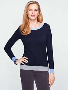Colorblocked Zip-Shoulder Sweater