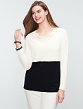 Colorblocked Drape-Neck Top
