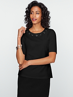 Jewel-Trimmed Ponte Top