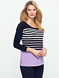 Stripe Shoulder-Button Cotton Tee