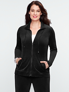 Luxe Velour Mock-Neck Jacket