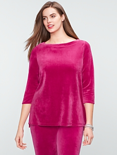 Luxe Velour Shirttail-Hem Top