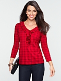Plaid Ruffled Drape V-Neck Tee