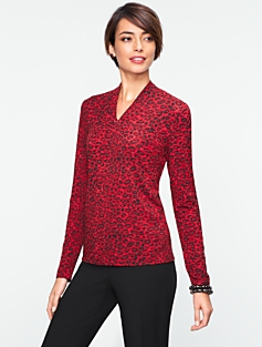 Animal-Print Stand V-Neck Top