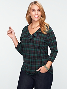 Buffalo Plaid Ruffled Drape V-Neck Tee