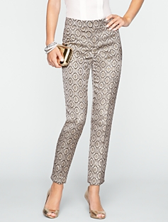 Signature Golden Brocade Ankle Pants