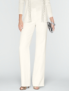 Heritage Seasonless Crepe Front Zip Wide-Leg Pants