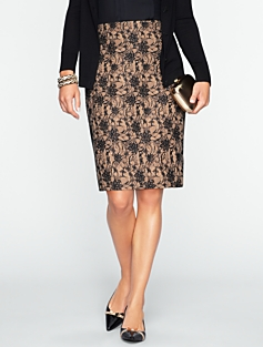 Bonded-Lace Pencil Skirt