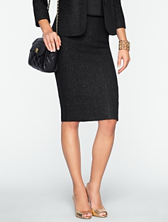 Sparkle Herringbone Tweed Skirt