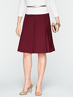 Textured Satin Pleated Skirt