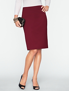 Textured Satin Pencil Skirt