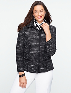 Ribbon-Trimmed Tweed Jacket