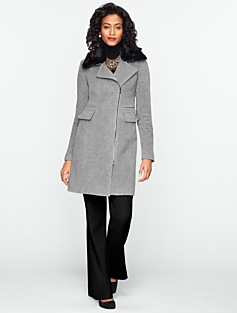 Fully Lined Plush Fur-Collar Coat
