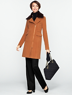 Thinsulate(TM) Lined Plush Fur-Collar Coat