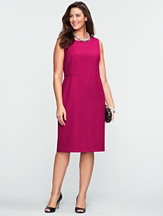 Italian Flannel Seamed-Bodice Dress