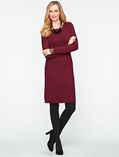 Merino Button-Shoulder Sweater Dress