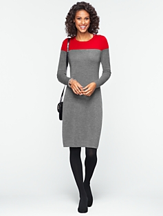 Talbots Merino Colorblocked Sweater Dress