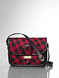 Buffalo Plaid & Leather Tab-Flap Shoulder Bag