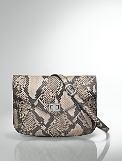 Python-Embossed Leather Envelope Bag