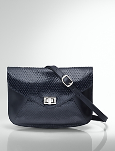 Boa-Embossed Leather Envelope Bag