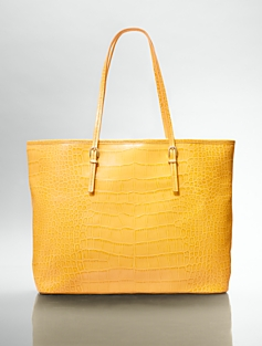 Croc-Embossed Leather Bucket Tote