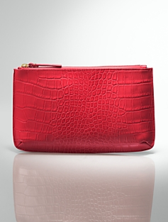 Zip-Top Croc-Embossed Leather Pouch